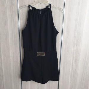 Zara chíc black romper with metal waist